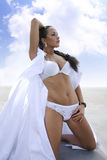 Pretty woman on a sea shore Royalty Free Stock Image