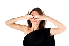 Pretty woman in See No Evil gesture Royalty Free Stock Photography