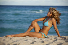 Pretty woman in sexy light blue bikini Stock Images