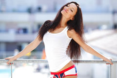 Pretty woman in shirt Stock Image
