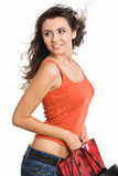 Pretty woman with shopping bag Stock Images