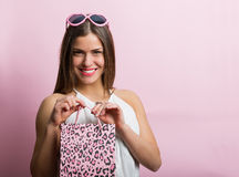 Pretty woman with a shopping bag Royalty Free Stock Photo
