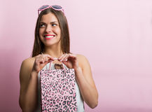 Pretty woman with a shopping bag Royalty Free Stock Image
