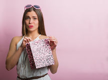 Pretty woman with a shopping bag Stock Photography