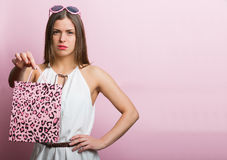 Pretty woman with a shopping bag Stock Photo