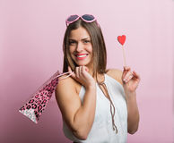 Pretty woman with a shopping bag Royalty Free Stock Images