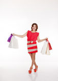 Pretty woman with shopping bags Royalty Free Stock Image