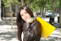 Pretty woman with shopping bags Royalty Free Stock Photography