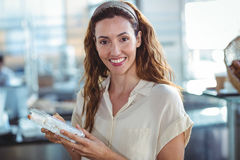 Pretty woman shopping in the bakery Stock Image