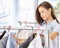 Pretty woman shopping clothes Royalty Free Stock Images