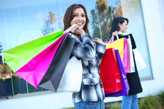 Pretty Woman Shopping with Colorful Bags Royalty Free Stock Photos