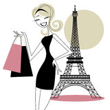 Pretty Woman Shopping in Paris, France Royalty Free Stock Image