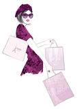 Pretty Woman shopping in Paris Royalty Free Stock Photos