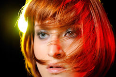 Pretty woman with short fashion bob hairstyle. Beauty portrait of pretty woman with short fashion bob hairstyle. light effects Royalty Free Stock Image