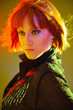 Pretty woman with short fashion bob hairstyle. Beauty portrait of pretty woman with short fashion bob hairstyle. light effects Royalty Free Stock Photo