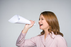 Pretty woman shouting loud Stock Image