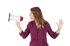 Pretty woman shouting with megaphone Royalty Free Stock Photo