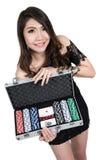 Pretty woman show a poker of box. Royalty Free Stock Photo