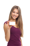 Pretty woman showing blank visit card Stock Images