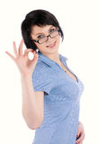 Pretty woman showing okay gesture Royalty Free Stock Images