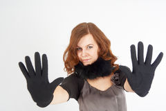 Pretty woman showing stop gesture Stock Images