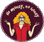 Pretty woman and sign about money color round sticker. Stock Images