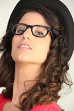 Pretty woman in silly glasses Stock Photos