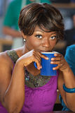 Pretty Woman Sipping Coffee Stock Photo