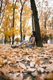 Pretty woman is sitting in autumn park near big tree. Beautiful landscape at fall season royalty free stock photo