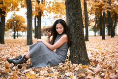 Pretty woman is sitting in autumn park near big tree. Beautiful landscape at fall season royalty free stock photos