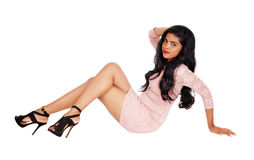 Pretty woman sitting on floor. Royalty Free Stock Photos