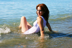 Woman in sea royalty free stock image