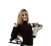 Pretty woman and skates Stock Photo