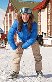 Pretty woman on ski resort Stock Photos