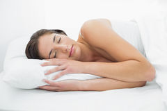 Pretty woman sleeping in bed Royalty Free Stock Images