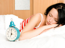 Pretty woman sleeping i Royalty Free Stock Photos