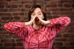 Pretty Woman Sneezing Royalty Free Stock Images