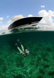 Pretty woman snorkeling underwater Royalty Free Stock Photo