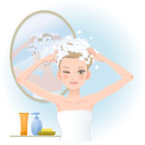 Pretty woman soaping her head Stock Images