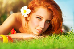Pretty woman on spa resort Royalty Free Stock Photography