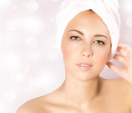 Pretty woman in spa salon stock photos