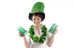 Pretty woman on St. Patrick's day Royalty Free Stock Photos