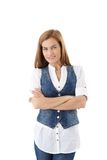 Pretty woman standing arms crossed Royalty Free Stock Photography