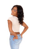 Pretty woman standing from back. Royalty Free Stock Photo