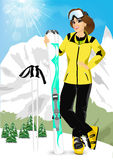 Pretty woman standing with mountain skis Stock Photography