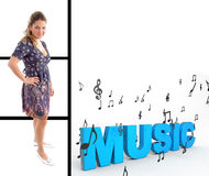 Pretty woman standing with music text Royalty Free Stock Photos