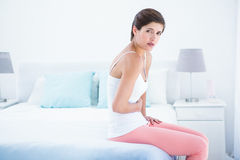 Pretty woman with stomach pain Stock Photography