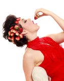 Pretty Woman With Strawberries in her Hair Royalty Free Stock Photos