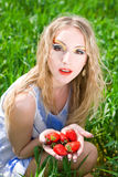 Pretty woman with  strawberry Stock Photo