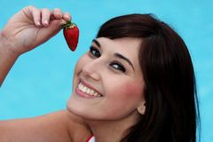 Pretty Woman and Strawberry stock images